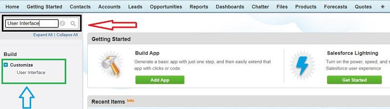 Setup User Interface (UI) in Salesforce