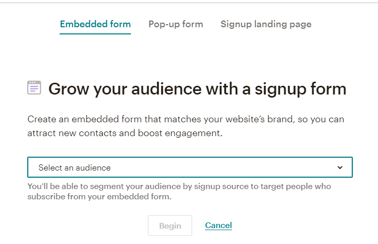 Email Marketing: Signup form