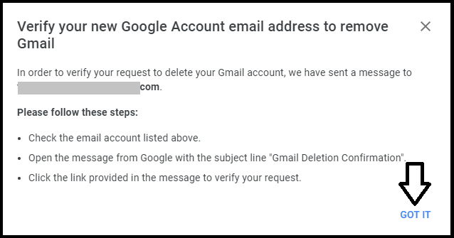 Verify Gmail account deletion
