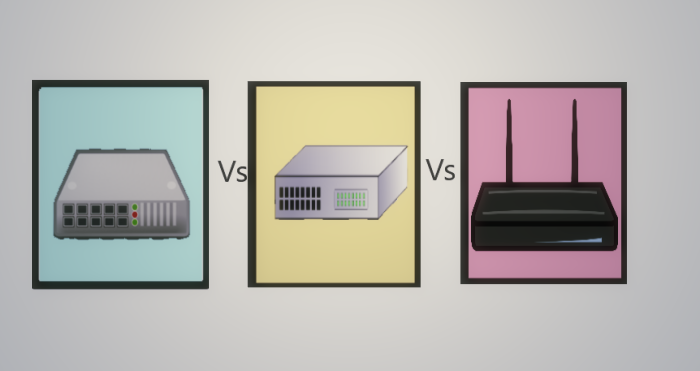 Difference between Hub, Switch and Router