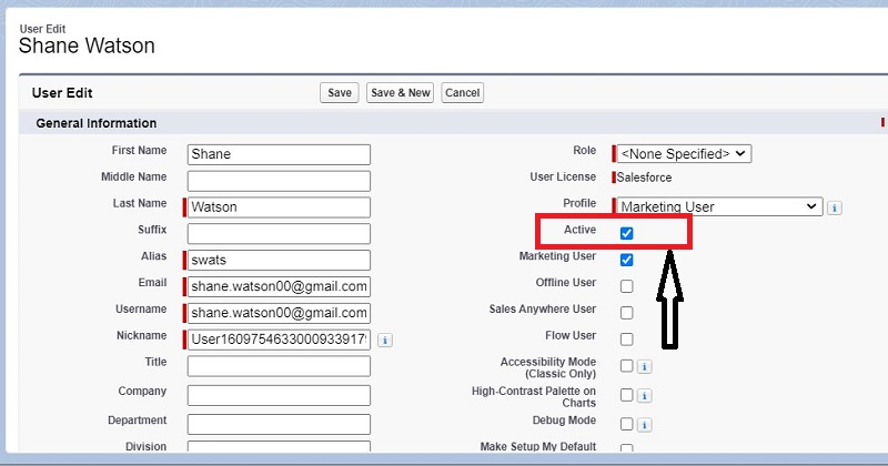 Deactivate a user in Salesforce