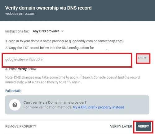 Verify domain ownership via DNS record in Google search console