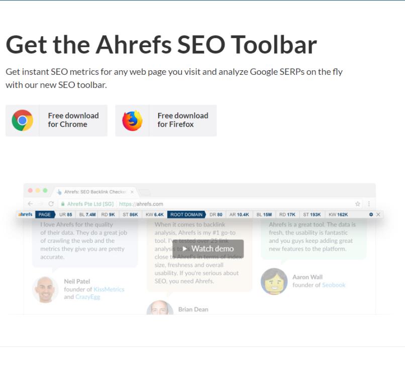 Ahrefs' SEO Toolbar
