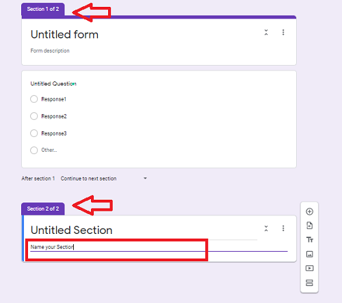 Enter the name for your newly added section.