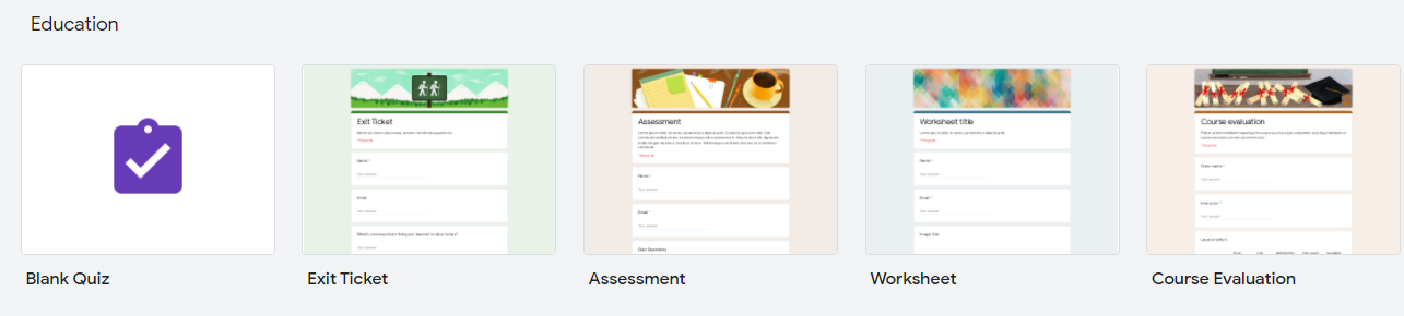 Create Google Form: Templates