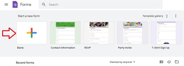 Setup a new Google Form or Quiz