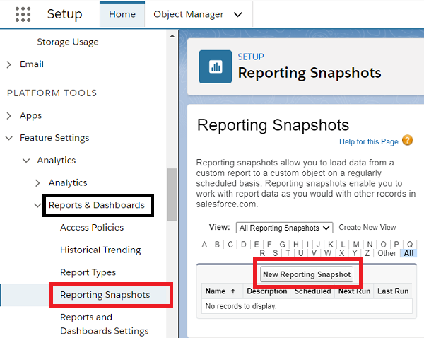 Set up an Analytical snapshot: Report and Dashboard