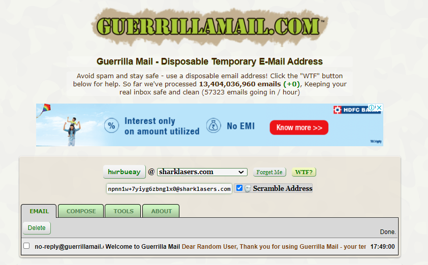 Guerrilla Mail: Create Temporary email address